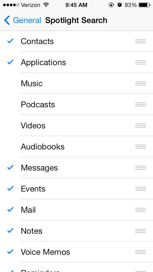 iOS spotlight settings